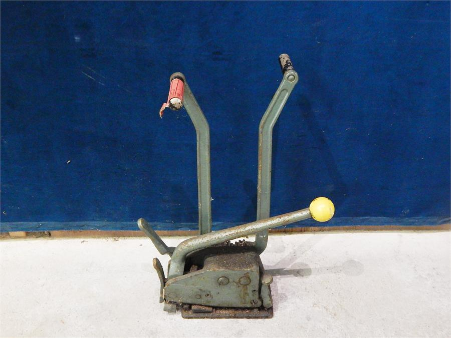 Lot 38 - Green Cast Metal three handled cutting tool