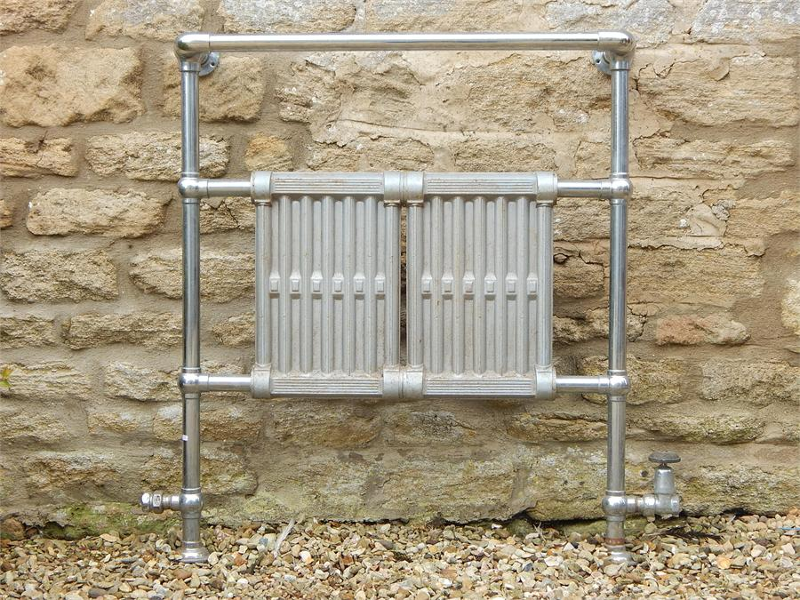 Lot 16 - Chrome and Steel Central Heating Towel rail early 20th Century.