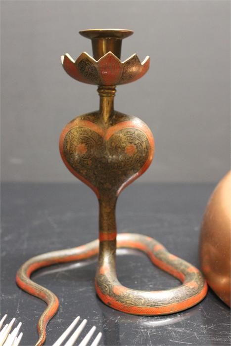 Lot 57 - A Copper Frying pan, An Eastern Candlestick in the form of a Cobra along with a quantity of flatware
