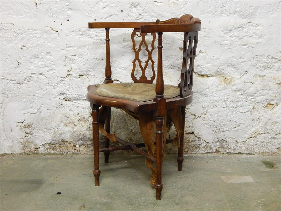 Lot 101 - Inlaid Corner Chair for upholstery / restoration