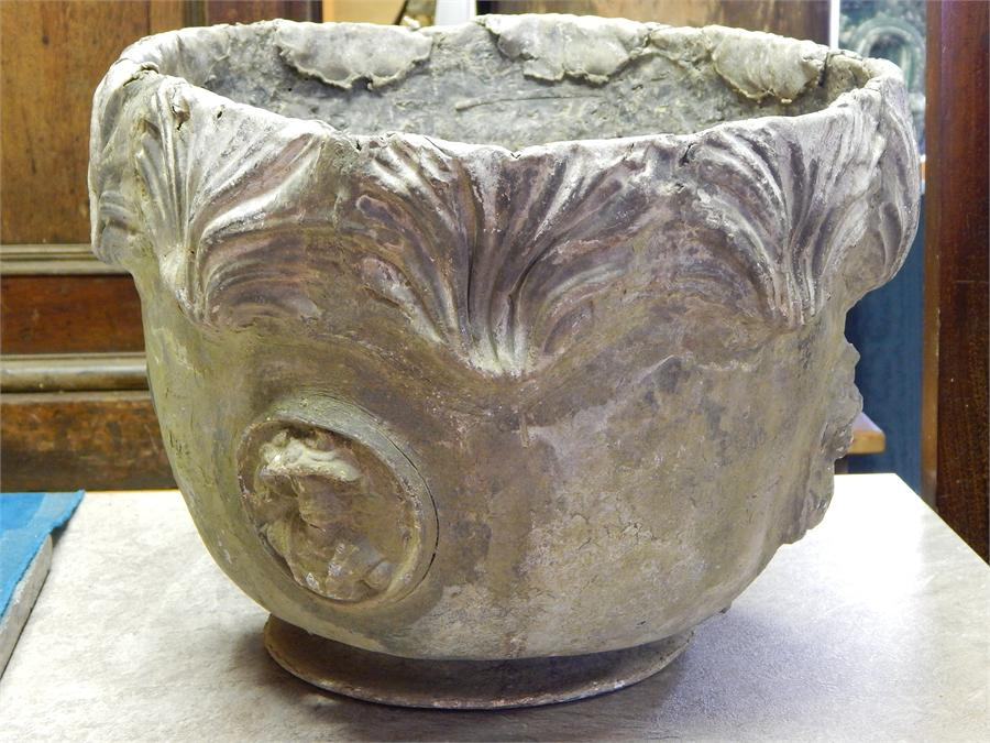 Lot 12 - A Single 18th Century Lead Planter, of circular form with relief decoration of period gentleman