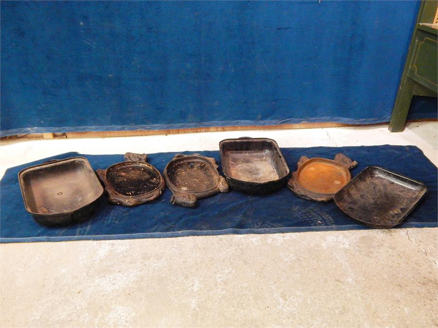 Lot 66 - Set of ornate vintage hot plates, irons and cooking trays; 7 items in all.
