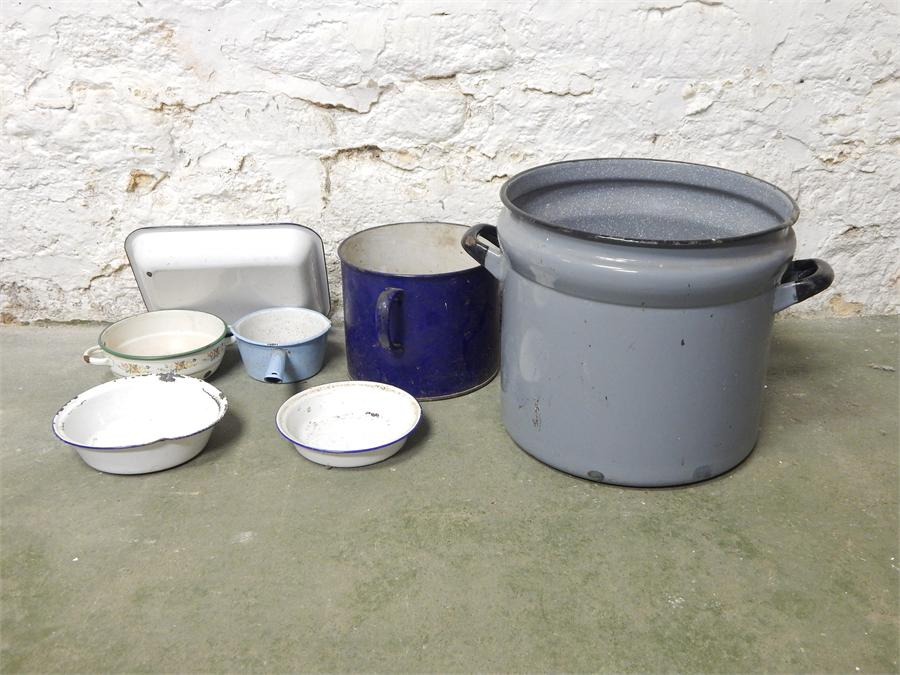 Lot 68 - A selection of enamel pots / planters, trays and a pan.