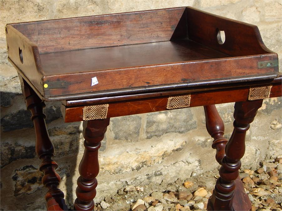 "Lot 114 - Mahogany Campaign Table with Fold-out Leaf, and Associated tray ""Camp"" table. Brass Female fitting"