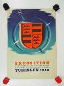 0.2.) Emailschilder / Werbeplakate Plakat: Ausstellung Tübingen 1946.Mehrfarbig, ca. 42 x 30 cm.