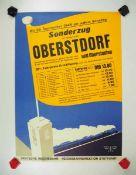 0.2.) Emailschilder / Werbeplakate Plakat: Eisenbahn - Sonderzug von Stuttgart nach Oberstdorf