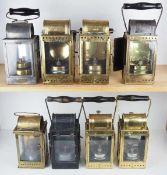 0.1.) Eisenbahn / Bergbau Bergbau - 8 Lampen / Laternen.Diverse, je Metallgehäuse mit Glaseinsatz.