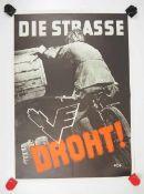 0.2.) Emailschilder / Werbeplakate Plakat: Eisenbahn - Die Straße droht.Mehrfarbig, ca. 59 x 42 cm.