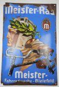 0.2.) Emailschilder / Werbeplakate Emailschild - Meister Rad, Fahrradwerke Bielefeld.Stärkere