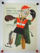 0.2.) Emailschilder / Werbeplakate Plakat: Deutsche Turn- und Sport-Ausstellung Stuttgart Killesberg