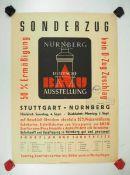 0.2.) Emailschilder / Werbeplakate Plakat: Eisenbahn - Sonderzug von Stuttgart nach Nürnberg zur