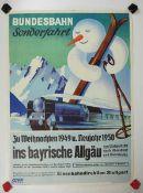 0.2.) Emailschilder / Werbeplakate Plakat: Eisenbahn - Bundesbahn Sonderfahrt von Stuttgart zu