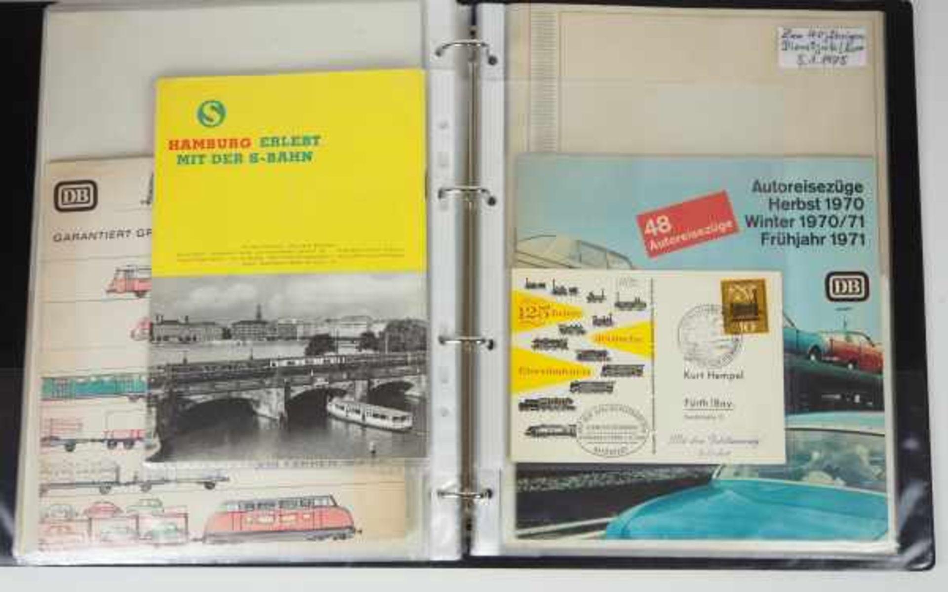 0.1.) Eisenbahn / Bergbau Eisenbahn - Ordner Dokumente.Broschüren, Briefmarken, Dokumente, Fotos, - Bild 3 aus 4