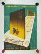0.2.) Emailschilder / Werbeplakate Plakat: Das Fertighaus, Exportmusterschau / Versuchssiedlung