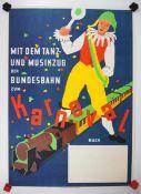 0.2.) Emailschilder / Werbeplakate Plakat: Eisenbahn - Mit dem Tanz- und Musikzug der Bundesbahn zum