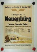 0.2.) Emailschilder / Werbeplakate Plakat: Eisenbahn - Sonderzug von Stuttgart nach Neunebürg (