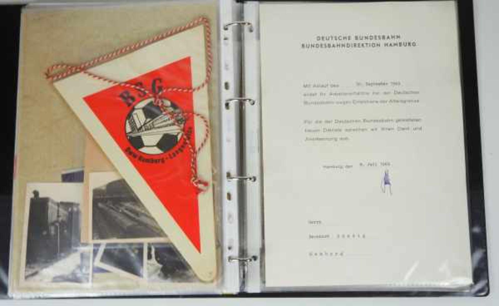 0.1.) Eisenbahn / Bergbau Eisenbahn - Ordner Dokumente.Broschüren, Briefmarken, Dokumente, Fotos, - Bild 4 aus 4