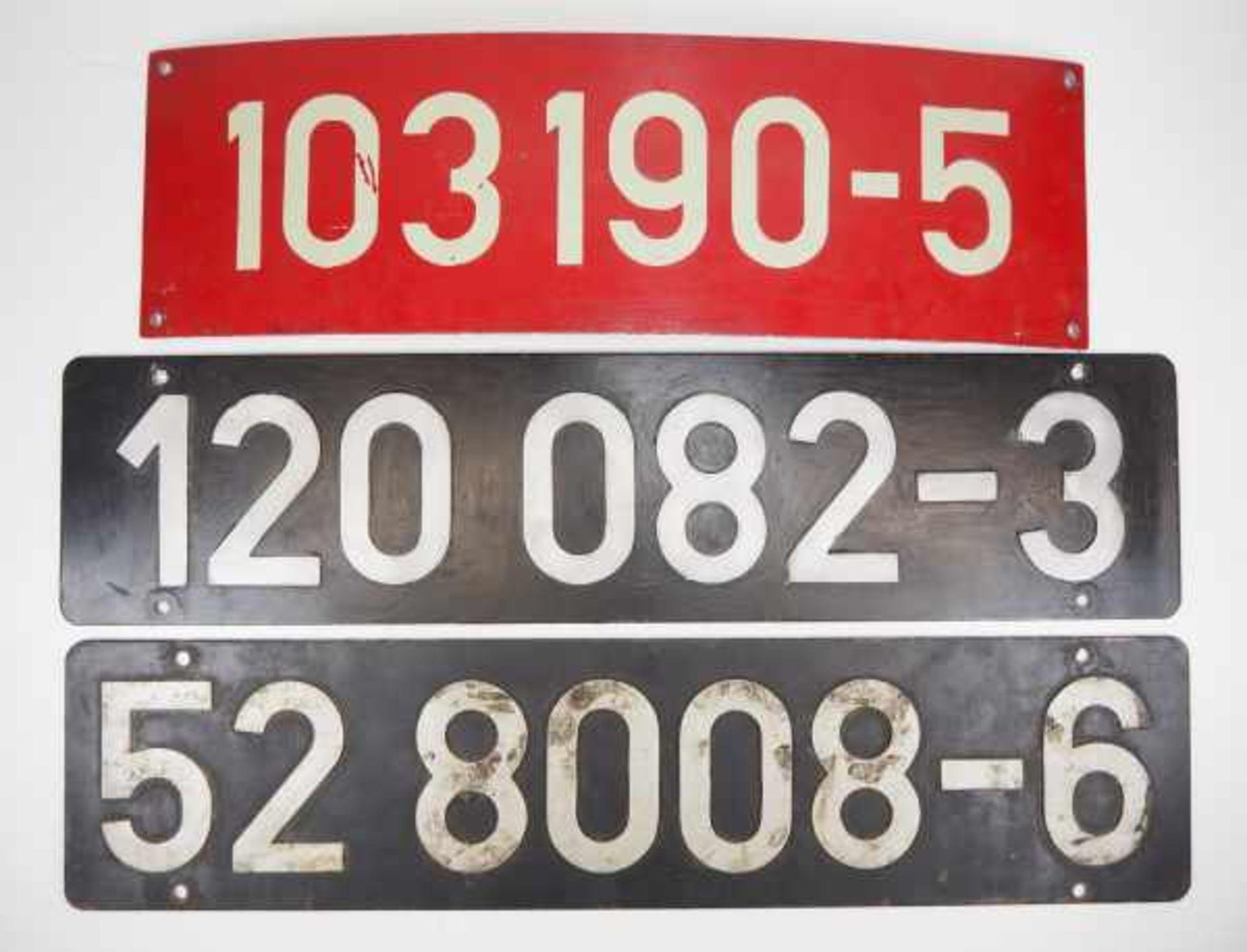 0.1.) Eisenbahn / Bergbau Eisenbahn - 3 Zuglaufschilder.Diverse Ausführungen und Größen.Zustand: