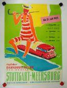 0.2.) Emailschilder / Werbeplakate Plakat: Eisenbahn - Täglicher Bahn-Bus-Verkehr Stuttgart