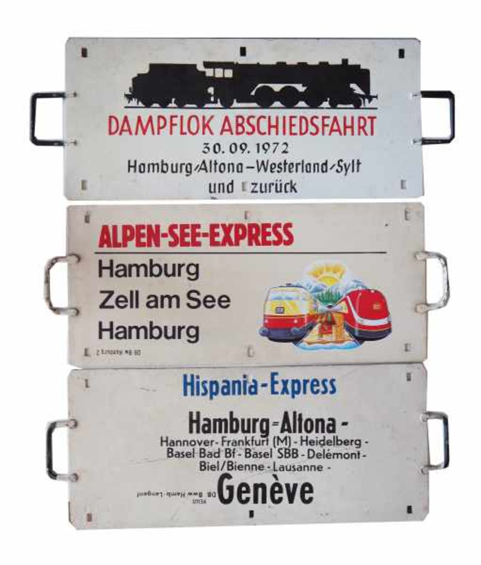 0.1.) Eisenbahn / Bergbau Eisenbahn - 3 Zuglaufschilder.1.) Dampflock Abschiedsfahrt von Hamburg