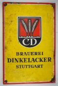 0.2.) Emailschilder / Werbeplakate Emailschild - Brauerei Dinkelacker, Stuttgart.Ordentlicher