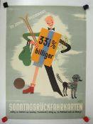0.2.) Emailschilder / Werbeplakate Plakat: Eisenbahn - Sonntagsrückfahrkarten 33% billiger.