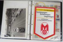 0.1.) Eisenbahn / Bergbau Eisenbahn - Ordner Dokumente.Broschüren, Briefmarken, Dokumente, Fotos,