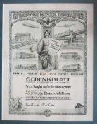 0.1.) Eisenbahn / Bergbau Eisenbahn - Gedenkblatt für 45 Dienstjahre für einen Rangiermeister.