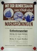0.2.) Emailschilder / Werbeplakate Plakat: Eisenbahn - Mit der Bundesbahn zum Schäferlauf nach