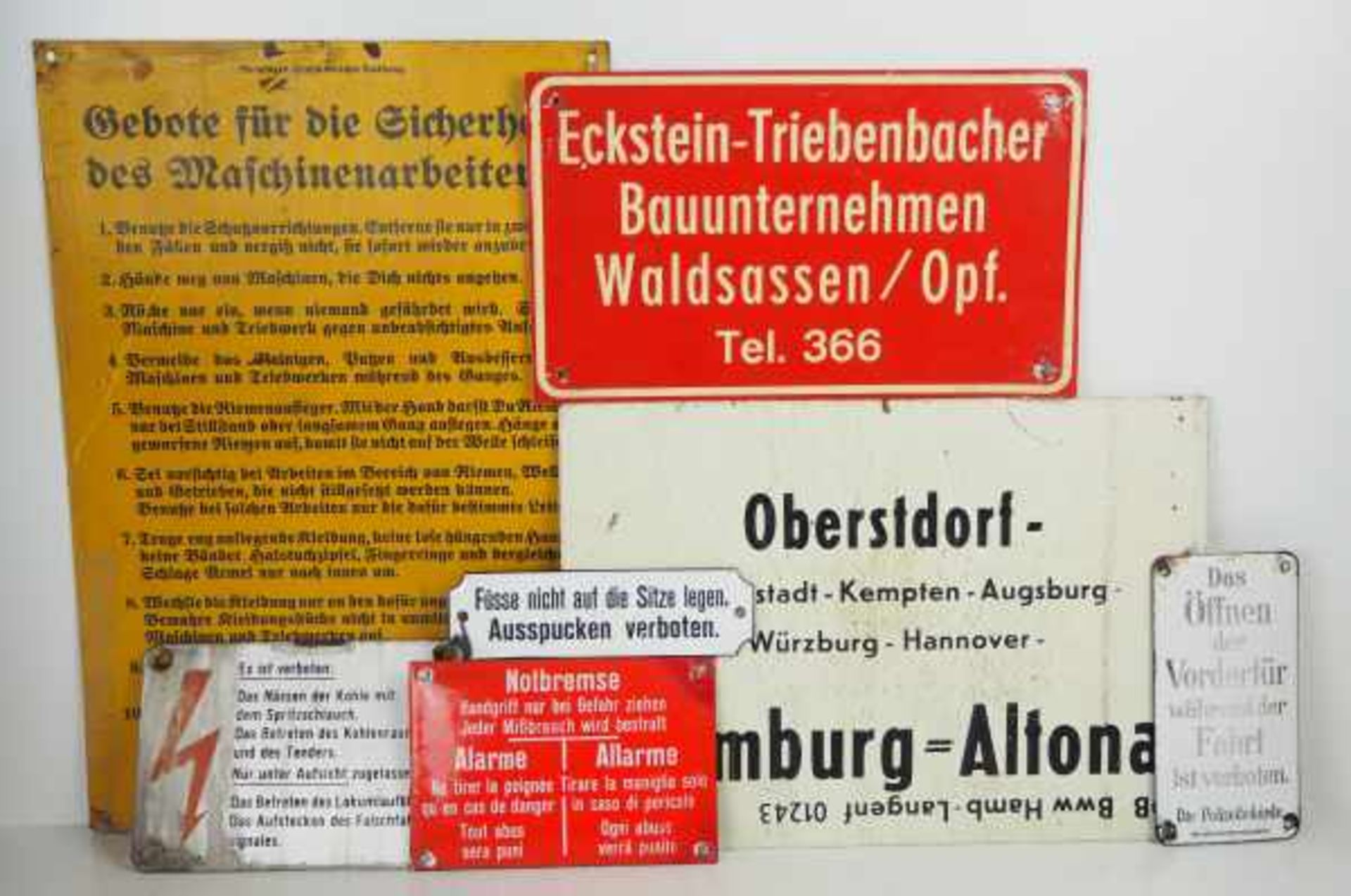 0.1.) Eisenbahn / Bergbau Eisenbahn - 7 Schilder.Emaille- und Blechschilder, diverse Größen.Zustand: