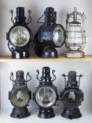 0.1.) Eisenbahn / Bergbau Eisenbahn - 6 Lampen / Laternen.Diverse, je Metallgehäuse mit