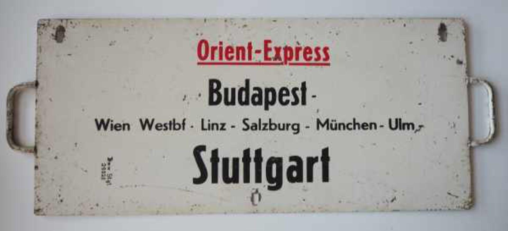 0.1.) Eisenbahn / Bergbau Eisenbahn - Zuglaufschild Orientexpress.Orient-Express von Stuttgart - Bild 2 aus 2