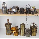 0.1.) Eisenbahn / Bergbau Bergbau - 11 Lampen / Laternen.Diverse, je mit Metallgehäuse.Zustand: II