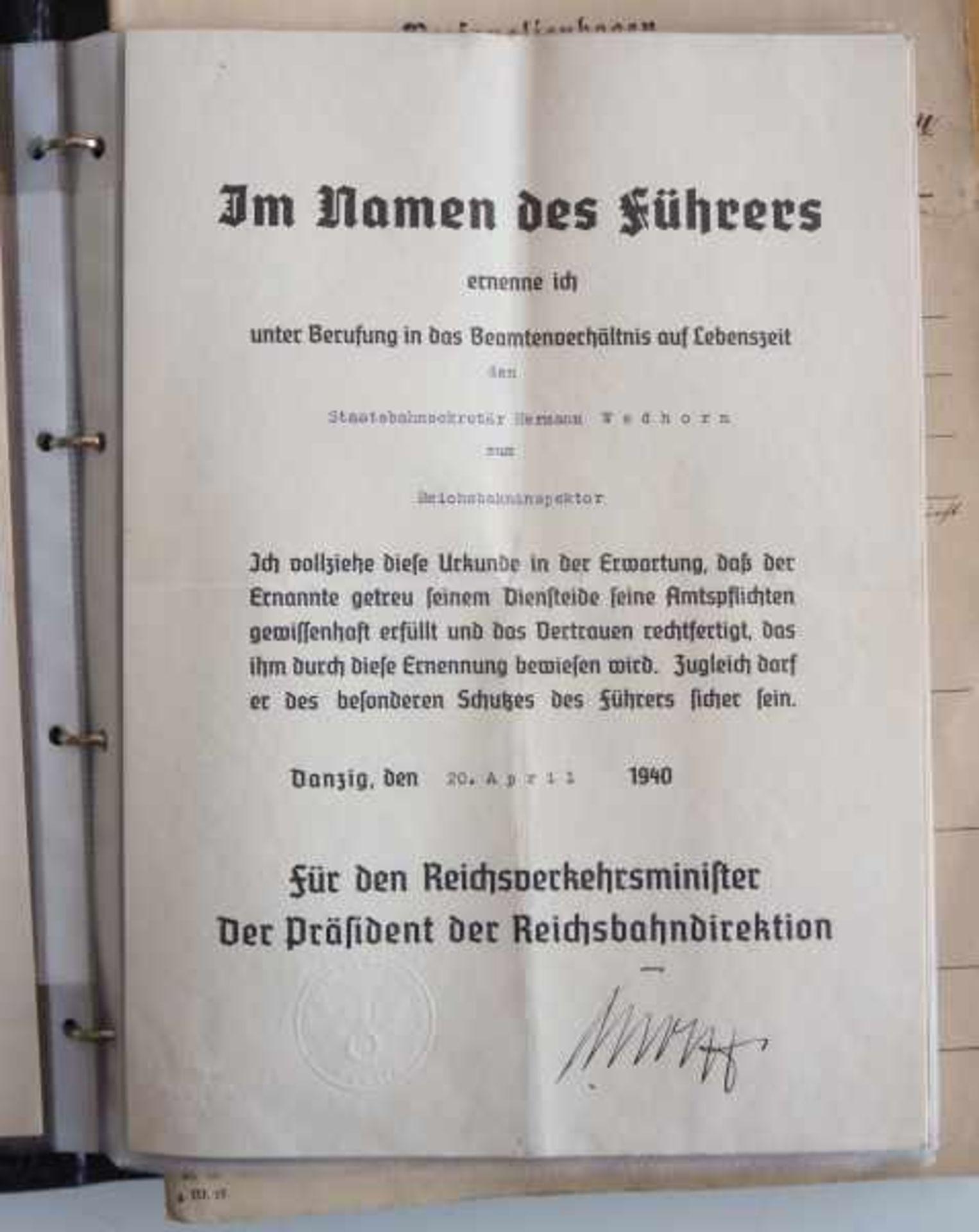 0.1.) Eisenbahn / Bergbau Eisenbahn - Umfangreicher Nachlass eines Eisenbahners aus Danzig.Sehr - Bild 9 aus 11