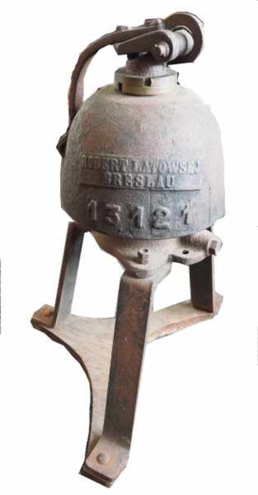 0.1.) Eisenbahn / Bergbau Eisenbahn - Lokomotiv Glocke.Gusseiserne Glocke mit Schlegel, mit