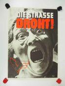0.2.) Emailschilder / Werbeplakate Plakat: Eisenbahn - Die Straße droht.Mehrfarbig, ca. 57 x 42 cm.