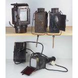 0.1.) Eisenbahn / Bergbau Eisenbahn - 4 Lampen / Laternen.Diverse, je mit Glasscheibe, dazu eine