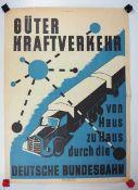 0.2.) Emailschilder / Werbeplakate Plakat: Eisenbahn - Güterkraftverkehr von Haus zu Haus durch
