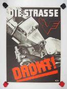 0.2.) Emailschilder / Werbeplakate Plakat: Eisenbahn - Die Straße droht.Mehrfarbig, ca. 58 x 42 cm.