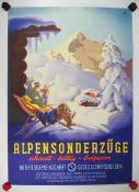 0.2.) Emailschilder / Werbeplakate Plakat: Eisenbahn - Alpensonderzüge.Mehrfarbig, ca. 83 x 59 cm.