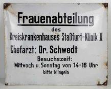 0.2.) Emailschilder / Werbeplakate Emailschild - Frauenabteilung des Kreiskrankenhauses Staßfurt