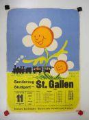 0.2.) Emailschilder / Werbeplakate Plakat: Eisenbahn - Sonderzug Stuttgart - St. Gallen 1953.