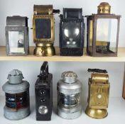 0.1.) Eisenbahn / Bergbau Eisenbahn - 8 Lampen / Laternen.Diverse Ausführungen, je Metallgehäuse mit