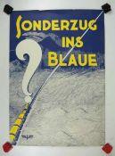 0.2.) Emailschilder / Werbeplakate Plakat: Eisenbahn - Sonderzug ins Blaue?Mehrfarbig, ca. 58 x 41