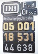 0.1.) Eisenbahn / Bergbau Eisenbahn - Zug- und Waggon Plaketten.Diverse.Zustand: II 0.1.)