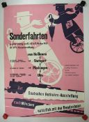 0.2.) Emailschilder / Werbeplakate Plakat: Eisenbahn - Sonderfahrten von Heilbronn nach München