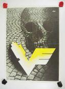 0.2.) Emailschilder / Werbeplakate Plakat: Eisenbahn - Totenkopf mit geflügeltem V.Mehrfarbig, ca.