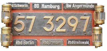 0.1.) Eisenbahn / Bergbau Eisenbahn - Zuglaufschilder.Diverse Zug- und Wagon-Schilder dekorativ