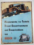 0.2.) Emailschilder / Werbeplakate Blechschild - Bosch Diesel Einspritzpumpen und Düsen.Rand mit