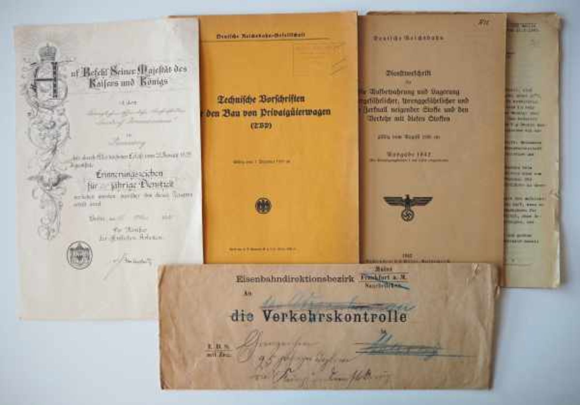 0.1.) Eisenbahn / Bergbau Eisenbahn - Lot Dokumente.Diverse.Zustand: II 0.1.) Eisenbahn / Bergbau